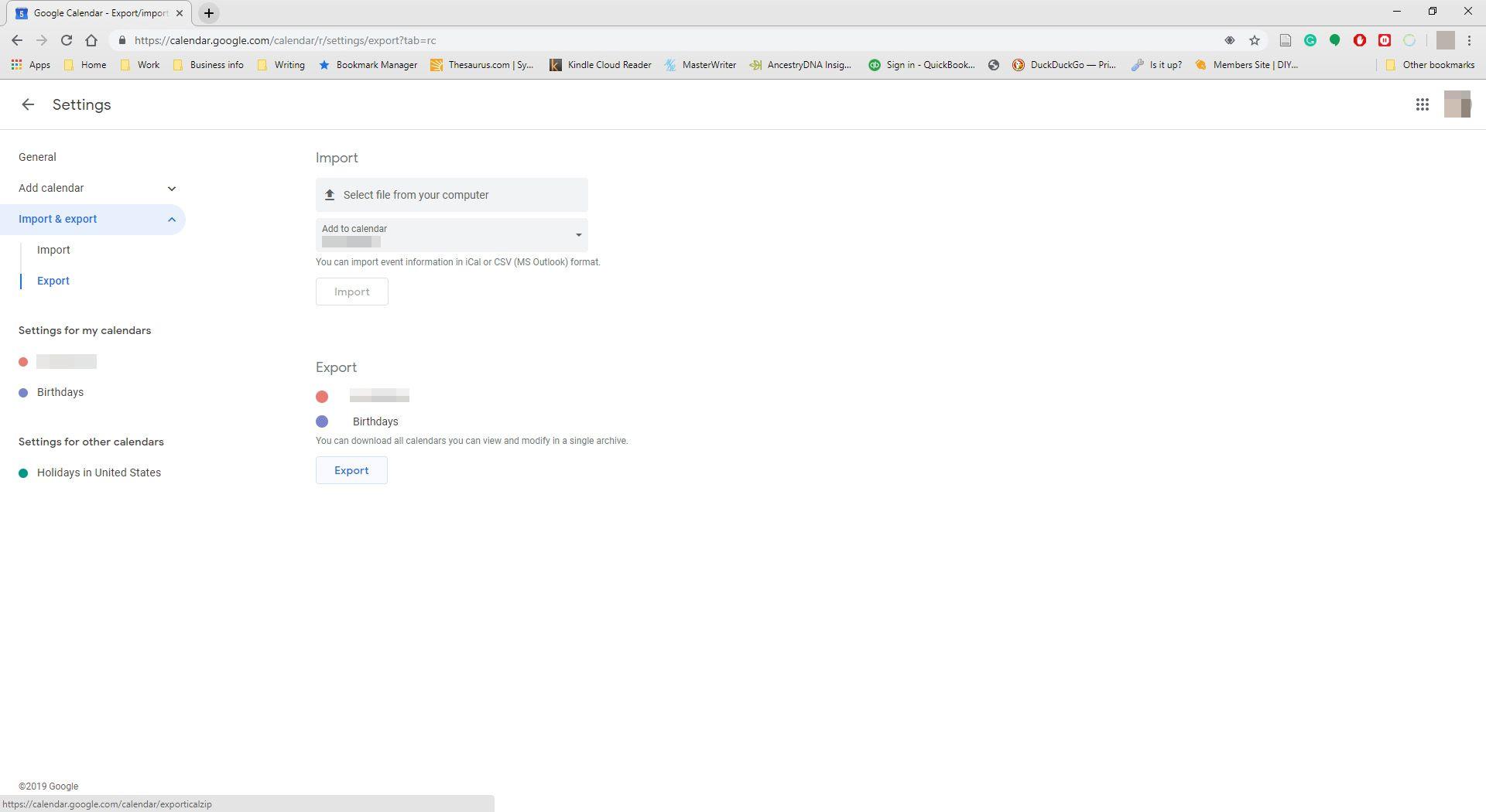 Selecting export in Google calendar.