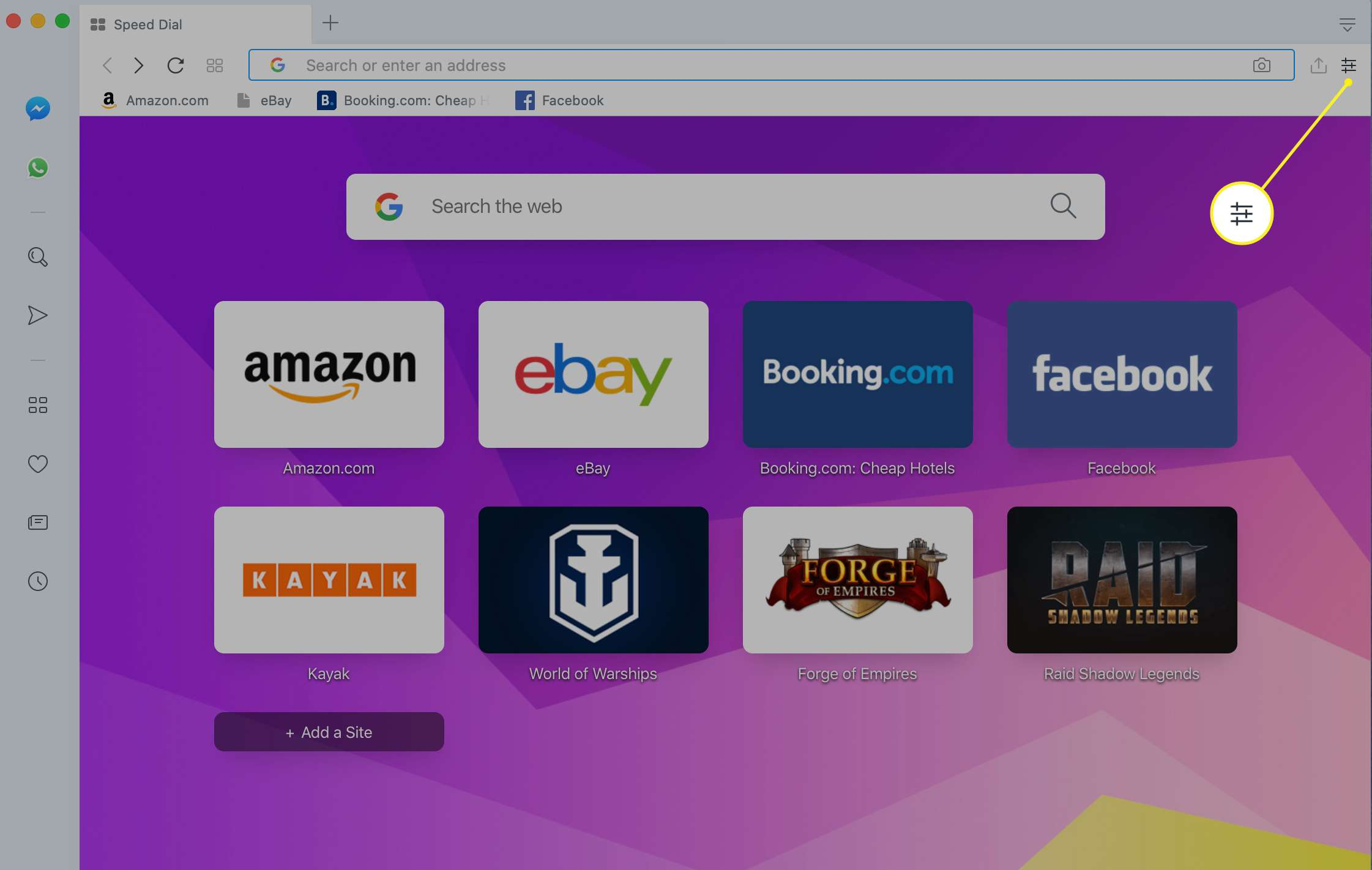 Opera browser with the menu icon highlighted