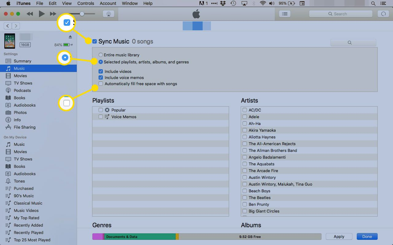 Sync Music settings for an iPad in iTunes
