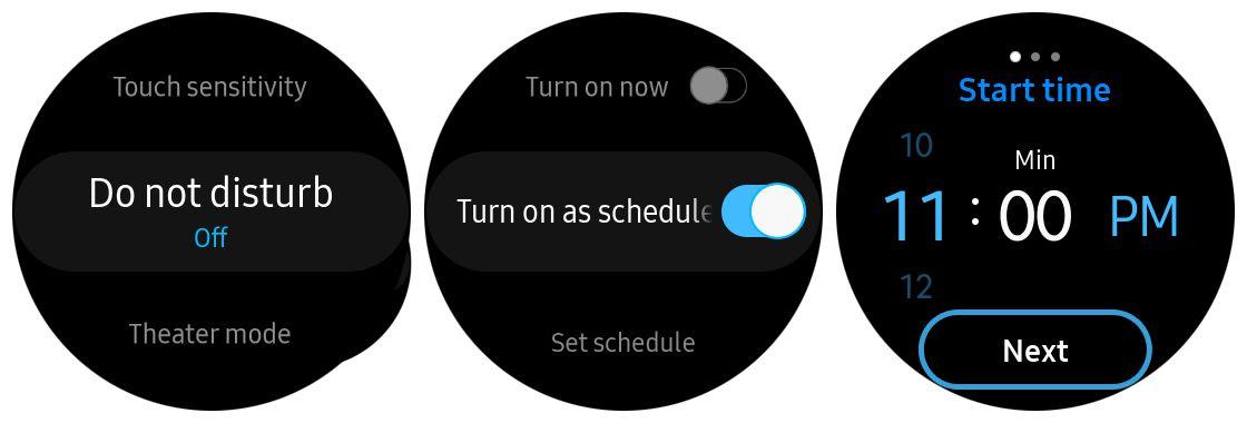 Screenshot of setting up Do not disturb schedule