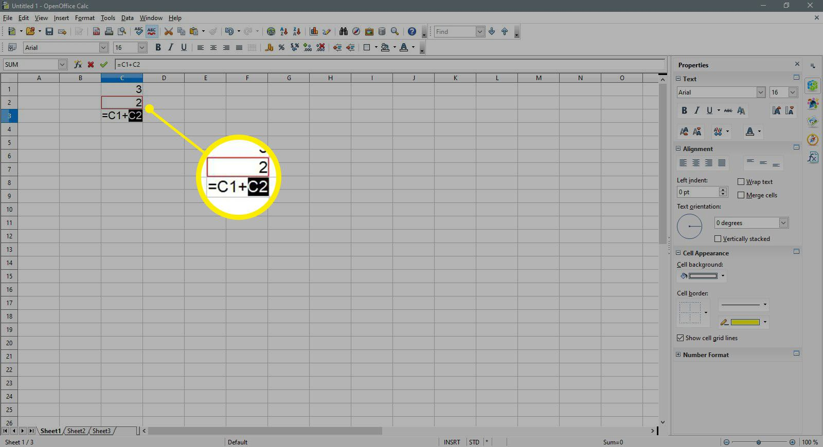Selecting the C2 cell in OpenOffice Calc.