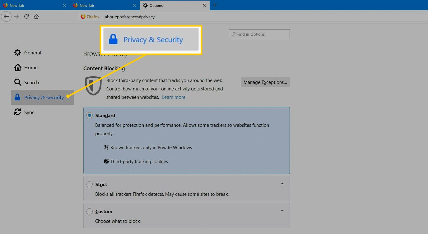 Privacy & Security tab in Firefox