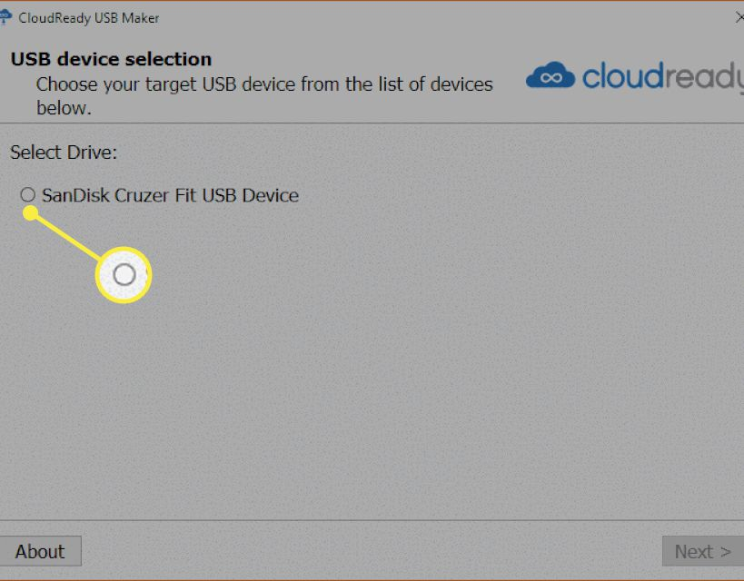 The Cloudready installer USB device selection screen