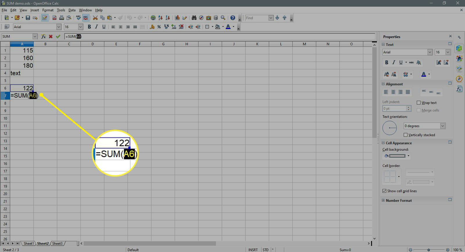 Building a SUM formula with cell A6 highlighted in OpenOffice Calc.