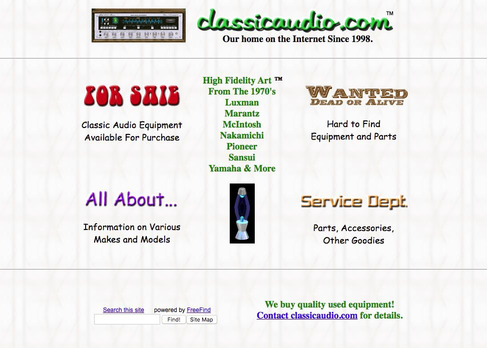 Classic Audio website selling used stereo equipment