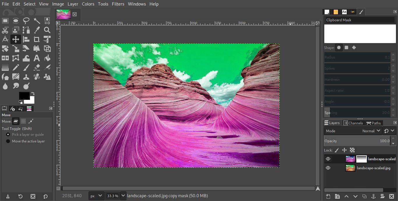 GIMP layer mask gradient result