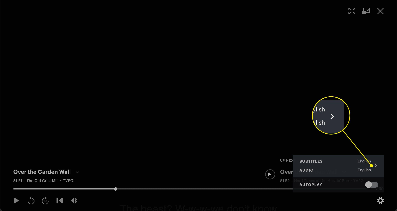 The arrow in the settings menu on the Hulu website