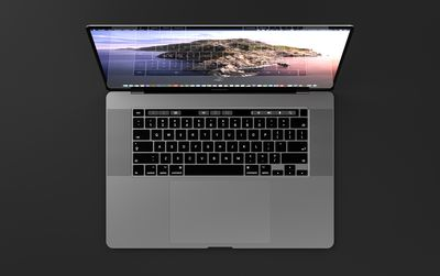 An overhead view of a MacBook Pro