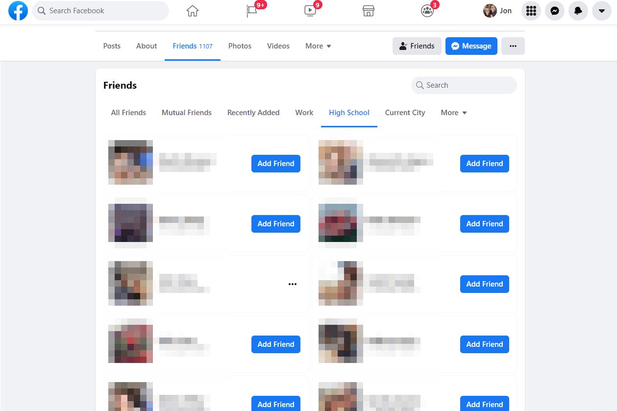 Facebook profile showing high school friends