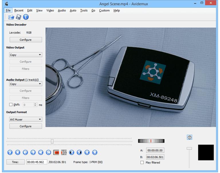 Screenshot of Avidemux in Windows