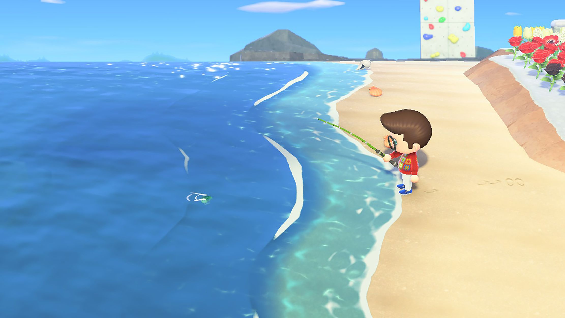 Screenshot of a character fishing in Animal Crossing