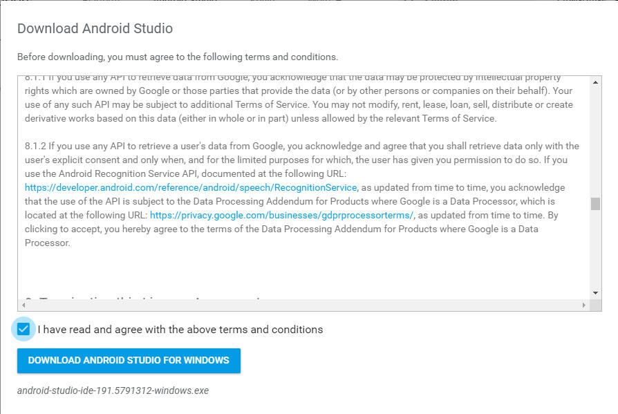screenshot of Android Studio user agreement