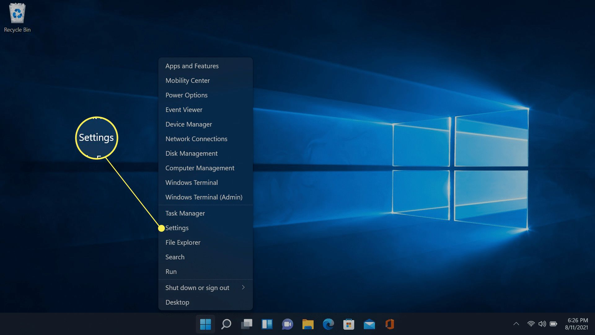 Settings highlighted in Windows 11.