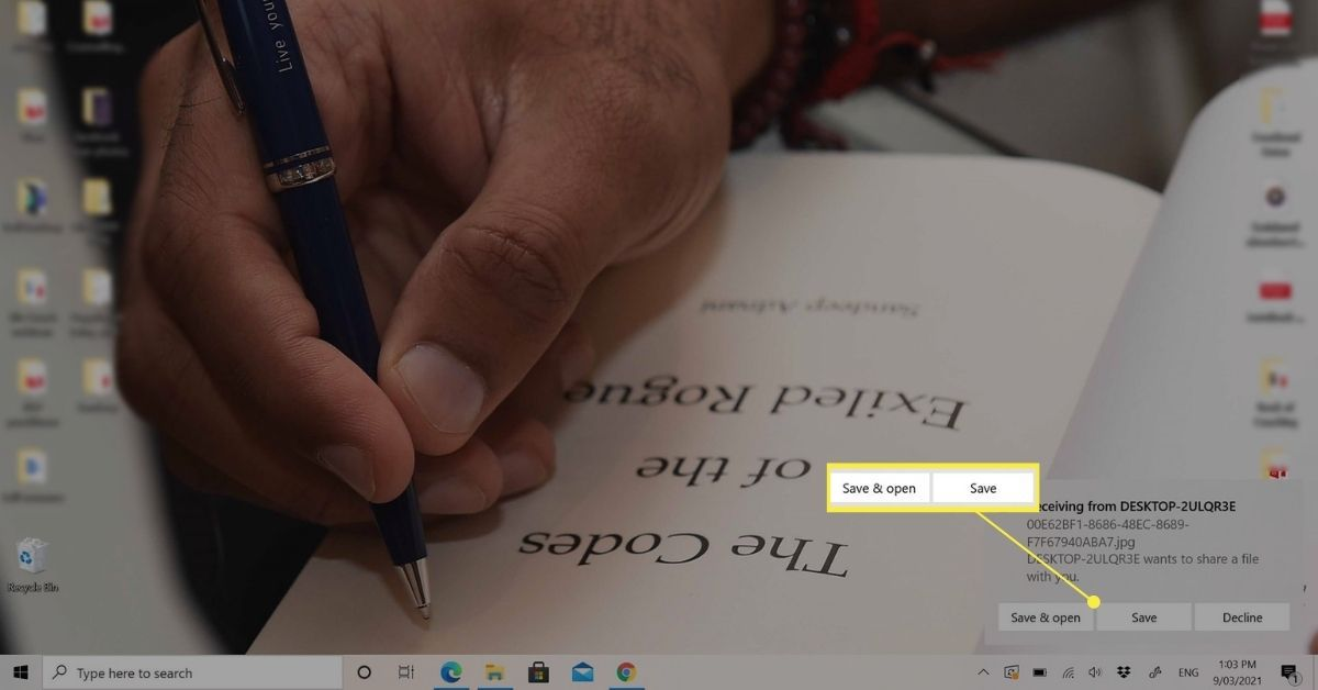 Save & Open and Save notification from a Surface Pro.