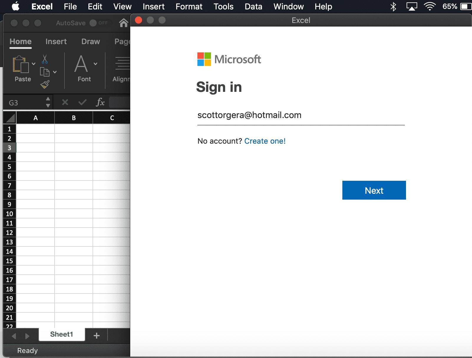 screenshot of the Microsoft account authentication window