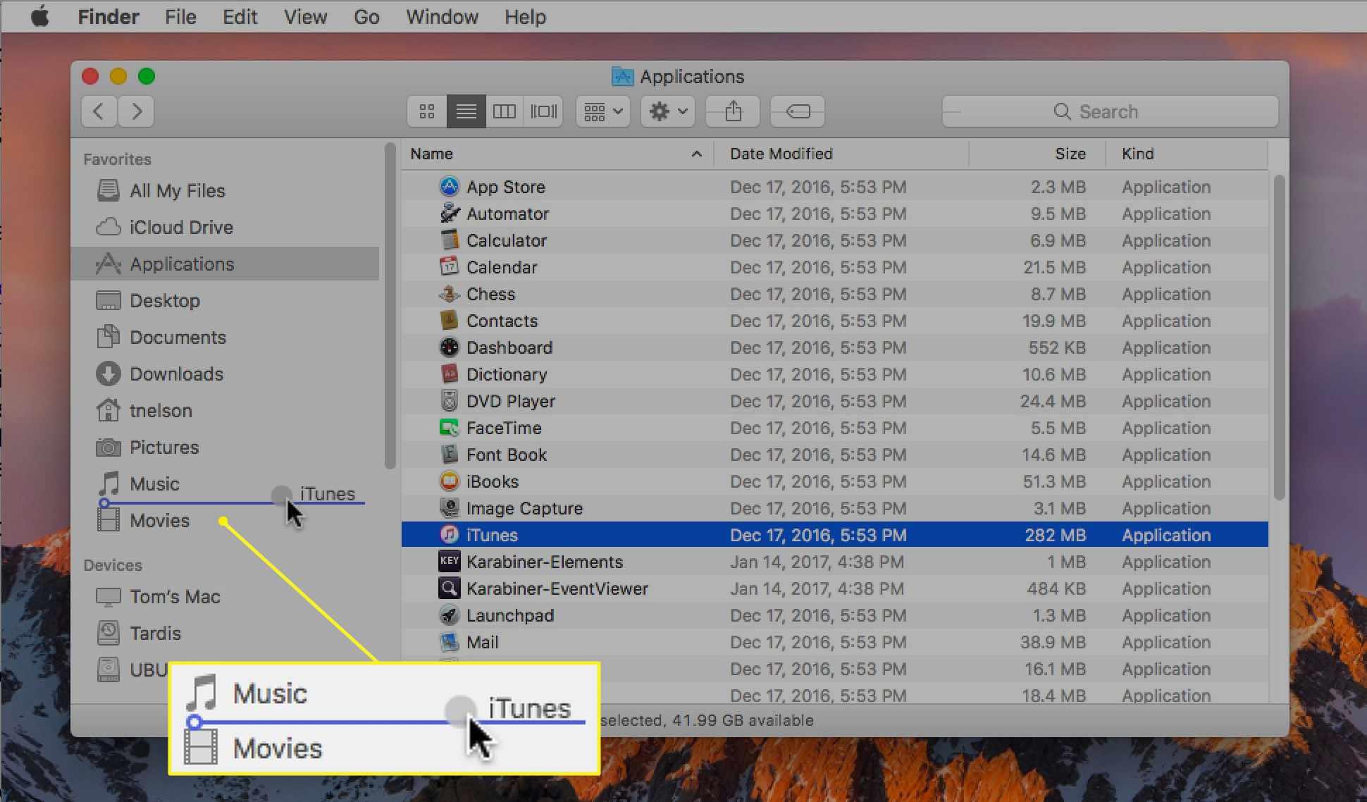 Mac Finder showing app being added to sidebar