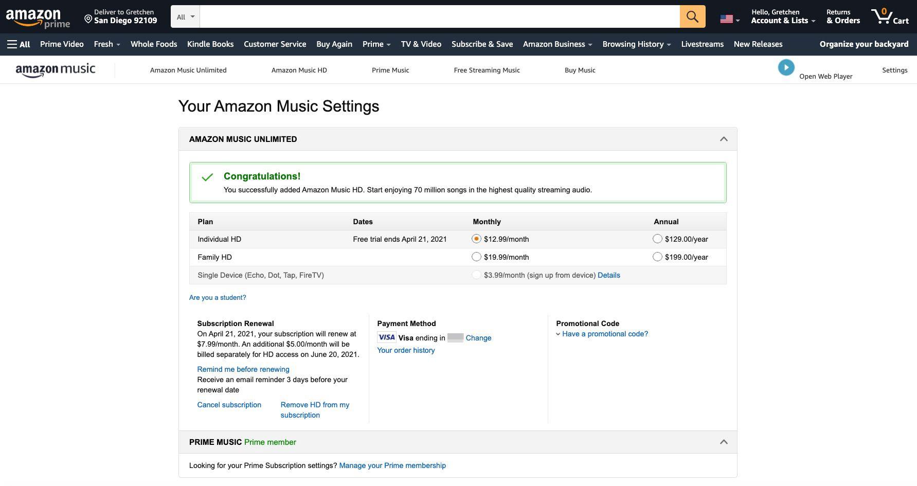 Amazon Music confirming a Music HD subscription