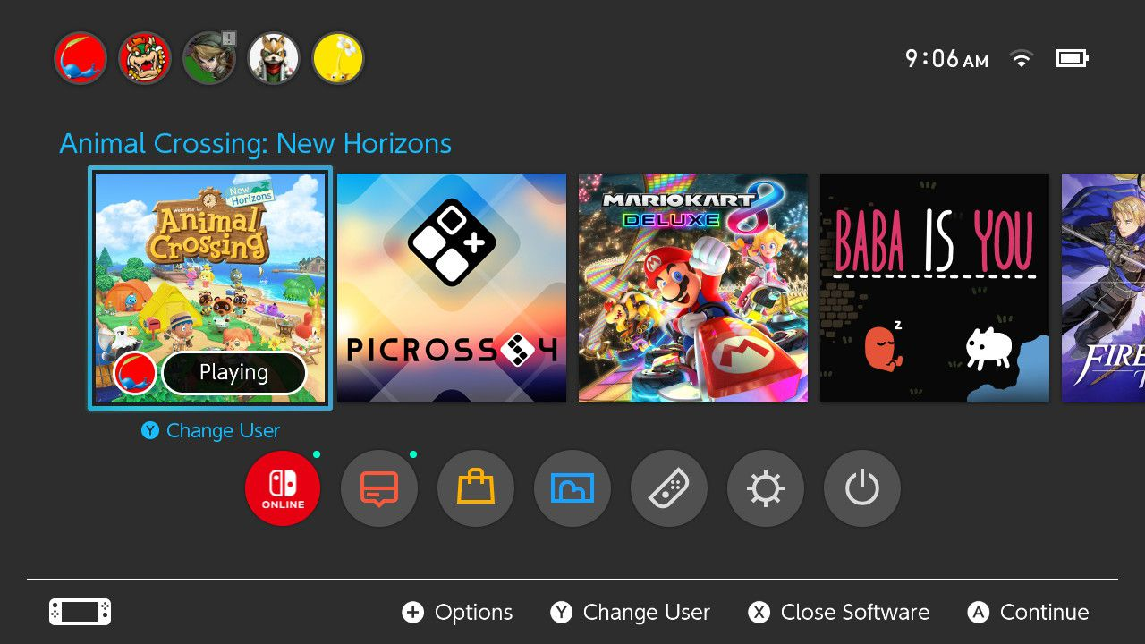 Selecting Animal Crossing: New Horizons game icon on Nintendo Switch home menu