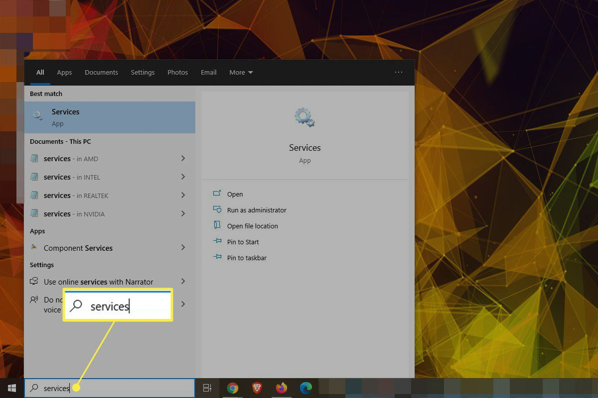 Searching for Services in Windows 10 search with the search field highlighted