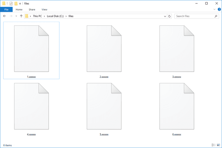 Screenshot of several XXXXXX files in Windows 10