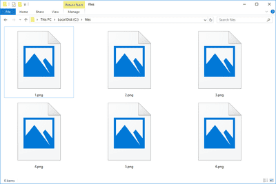 Screenshot of several PNG files in Windows 10