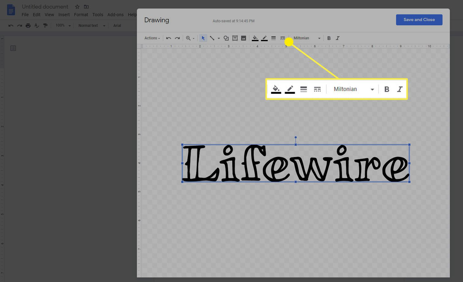 The context toolbar for word art in Google Docs.