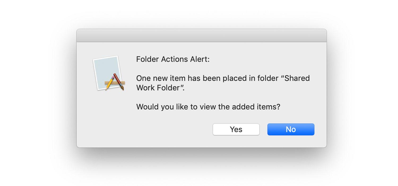 Folder action alert screen