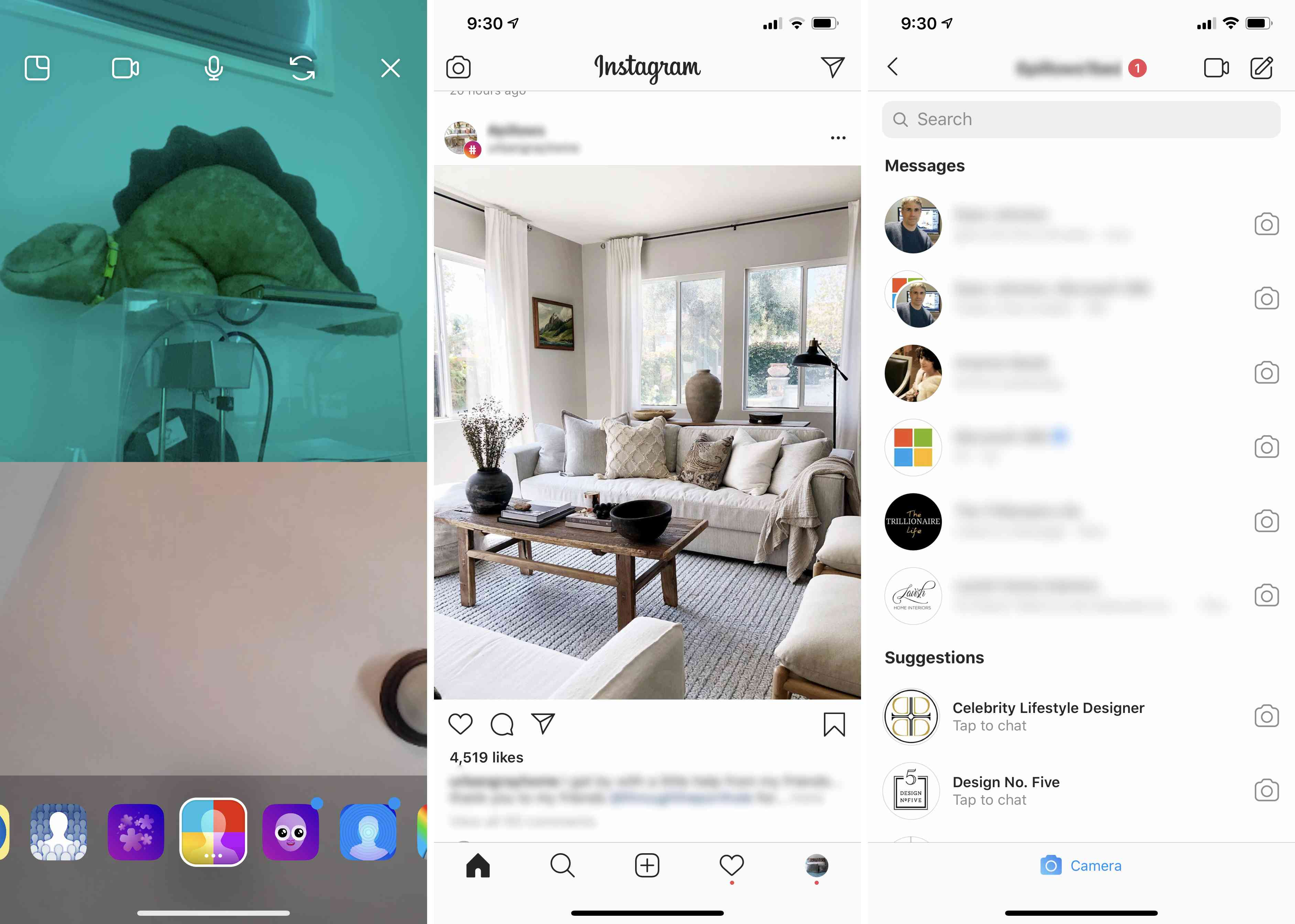 Three views of Instagram