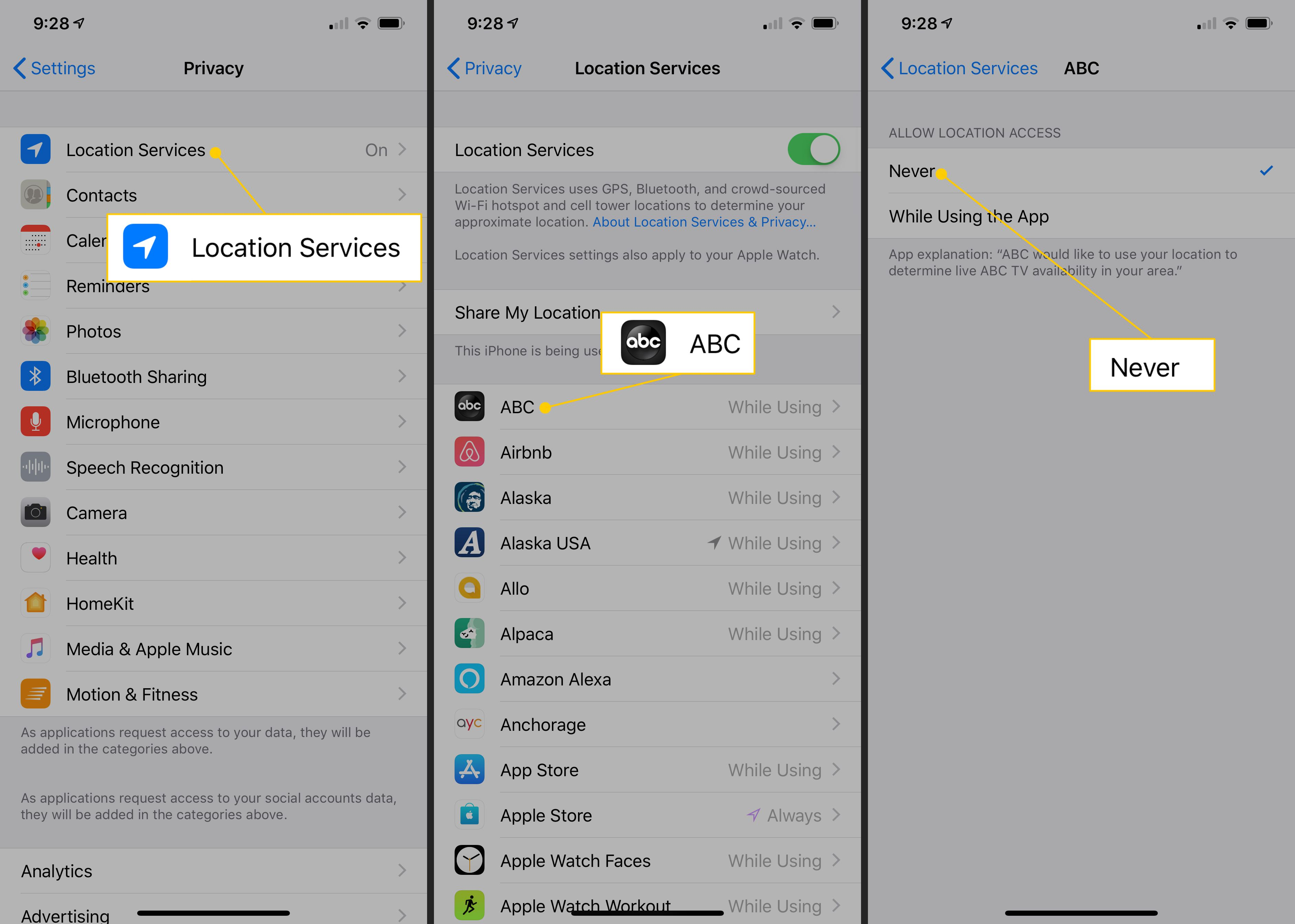Location Services, ABC app, Never in iOS Settings