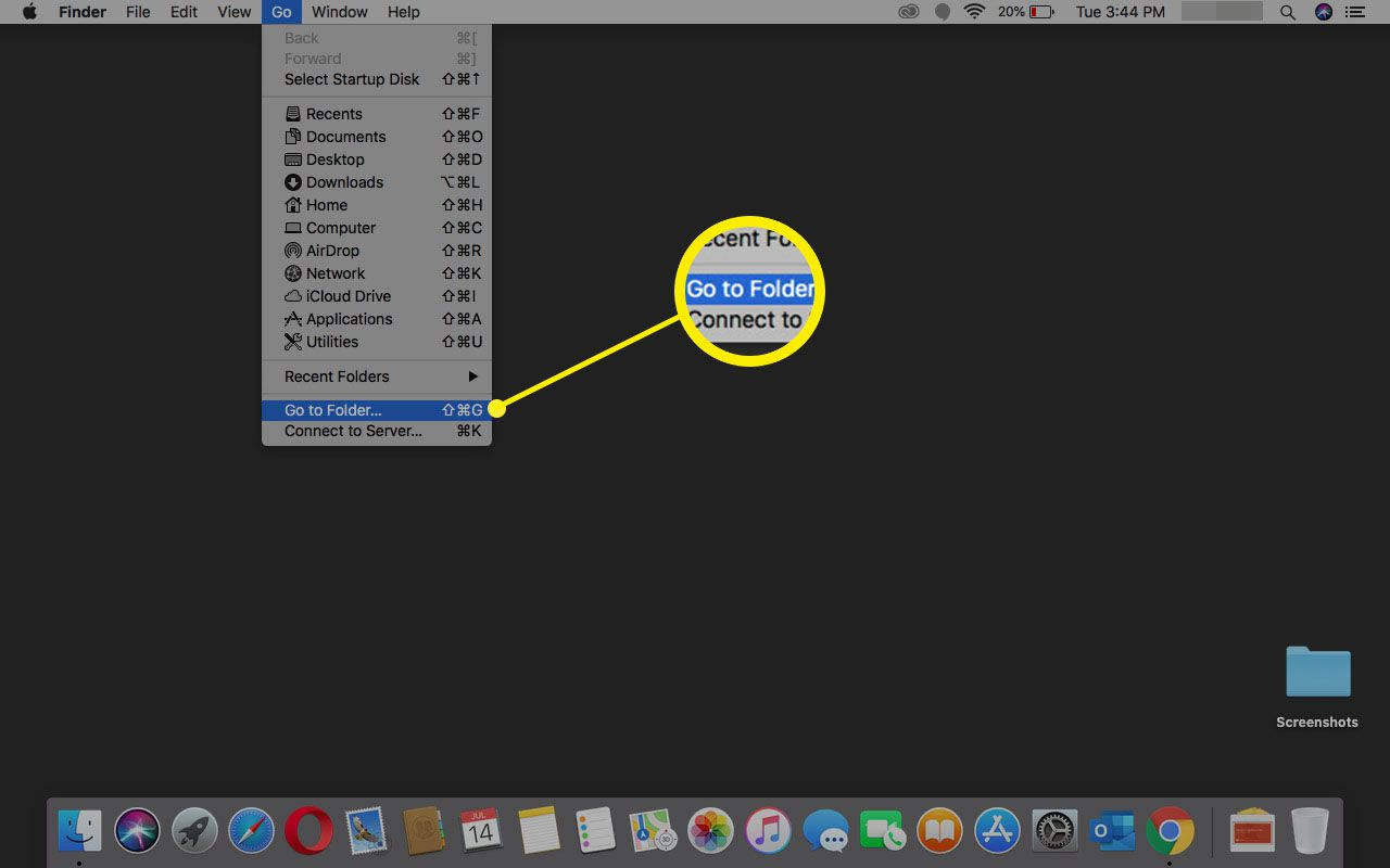 Selecting Go to folder in macOS.
