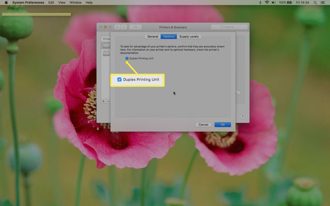 Duplex Printing Unit option in Mac printing preferences