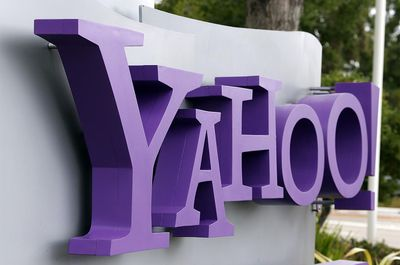 The Yahoo logo is displayed in front of the Yahoo headqarters on July 17, 2012 in Sunnyvale, California.