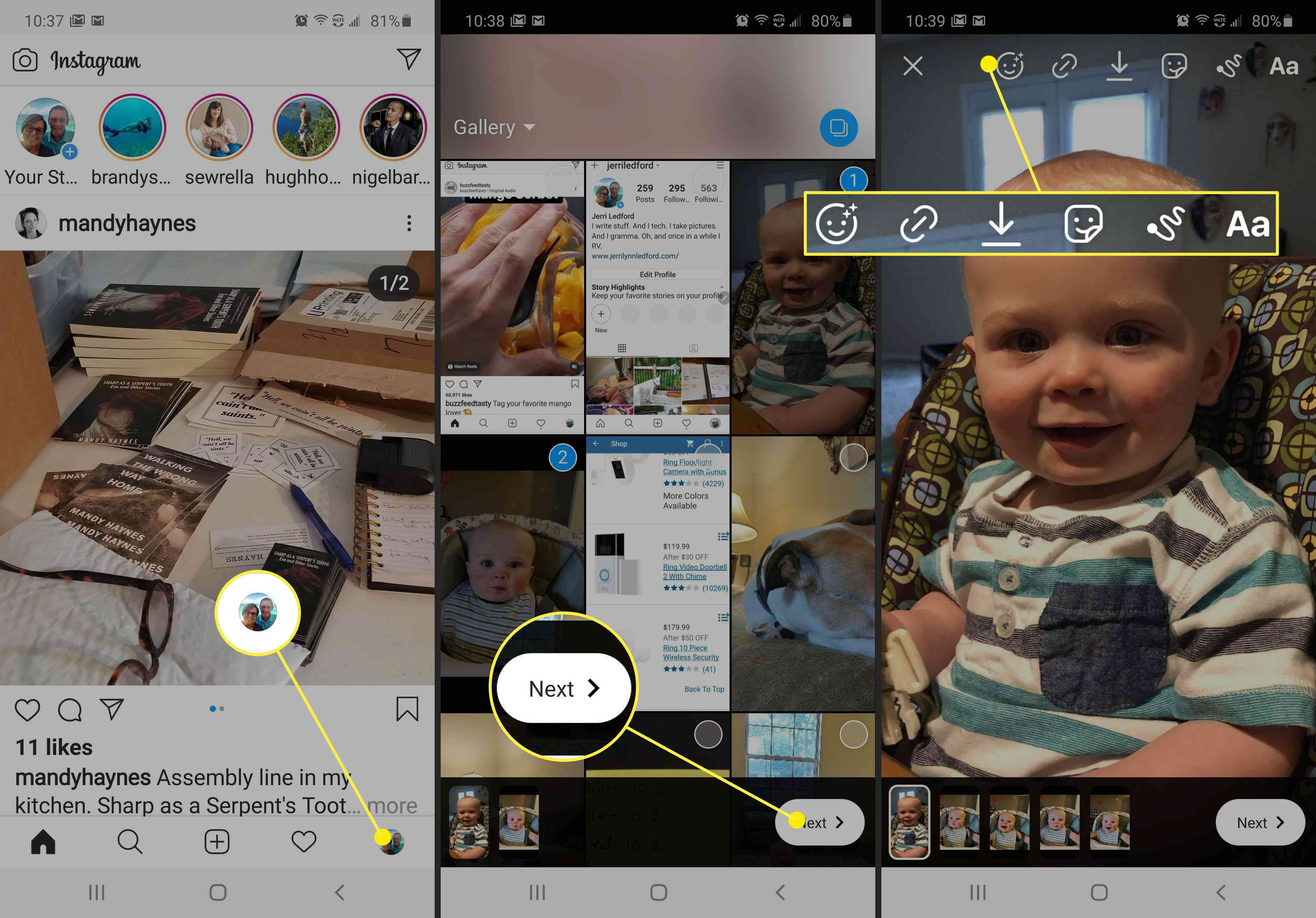 Screenshots showing how to add Instagram Story links.