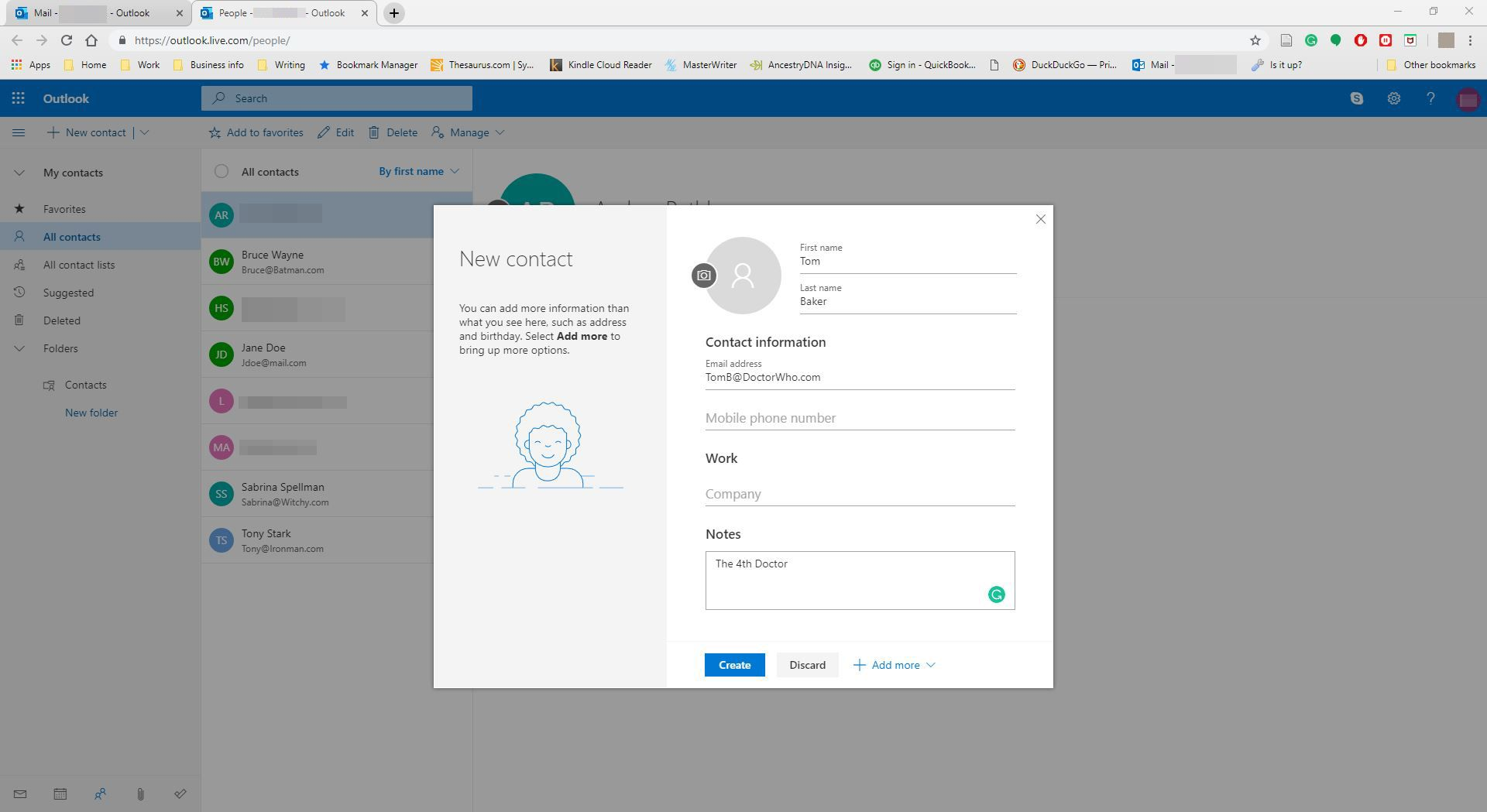 Entering data into a new contact in Outlook.com