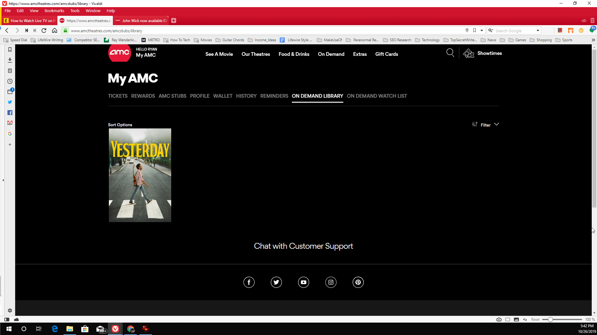 Playing a movie on AMC Theatres Movies on Demand