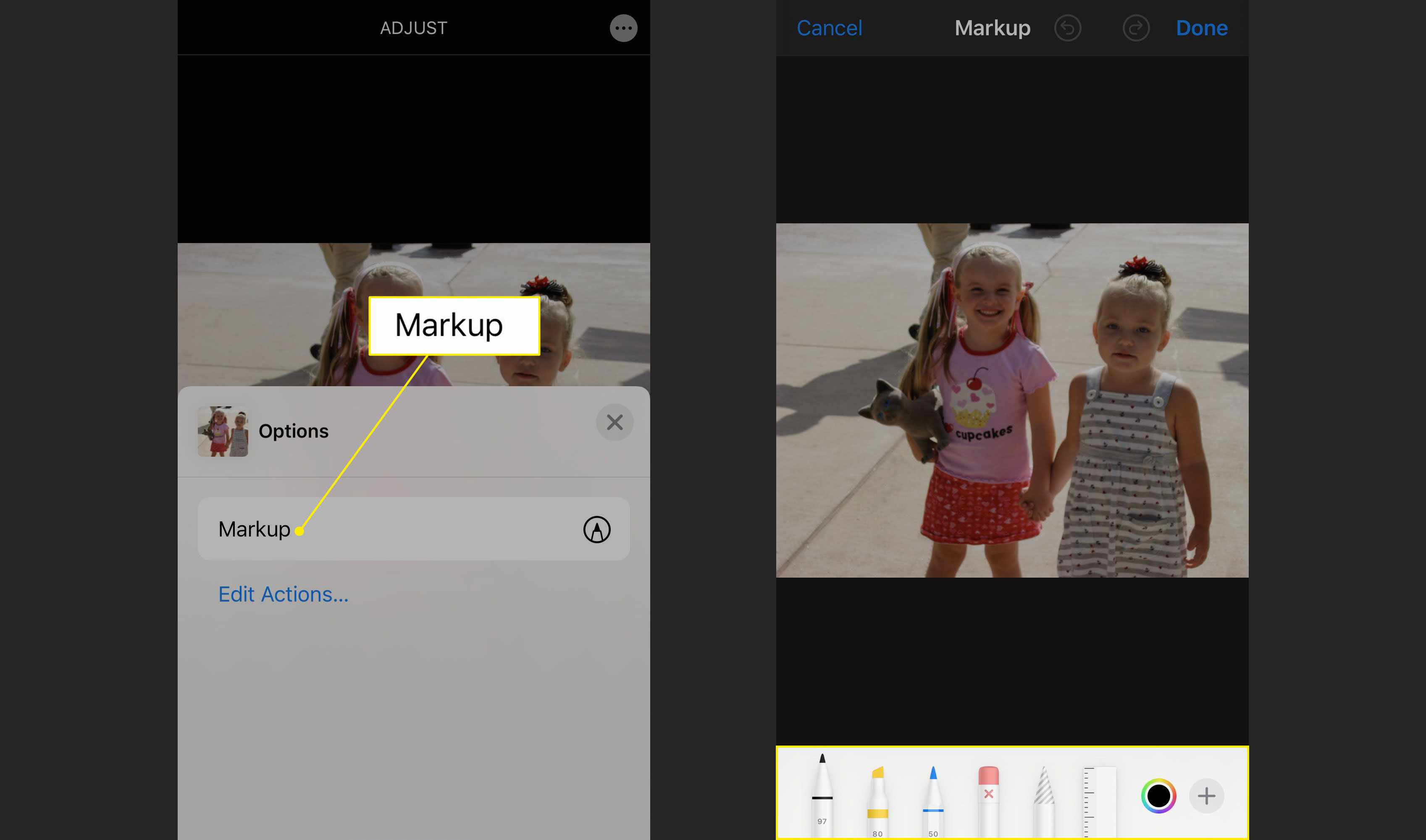 The Markup option and tools in Photos