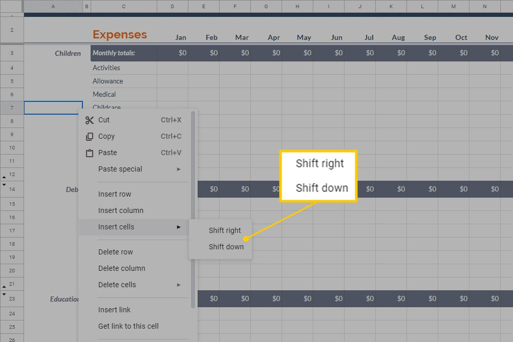 Shift right/Shift down in Excel