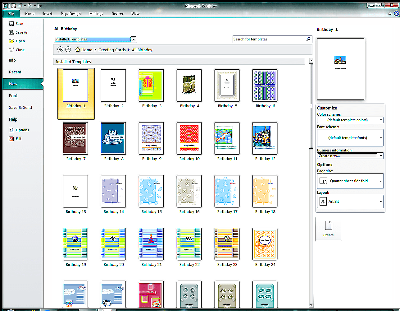 Birthday Greeting Card Templates In Publisher 2010 Screenshot