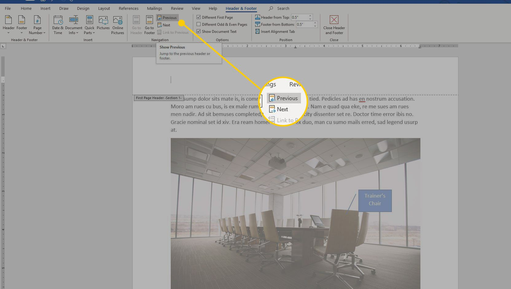 Word with header navigation options highlighted
