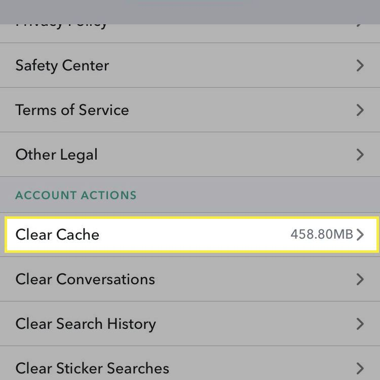 Cache settings in Snapchat.