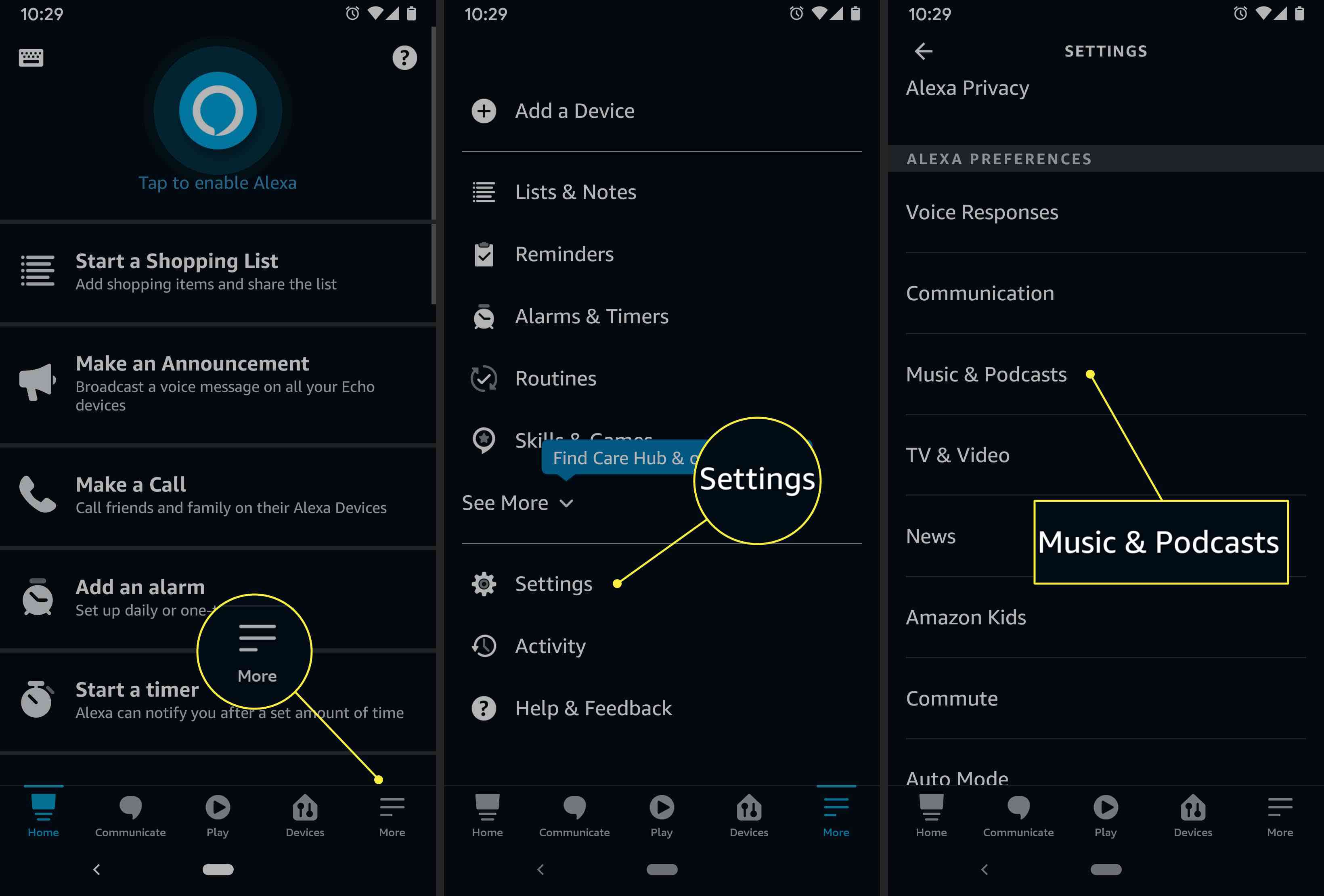 An Alexa app user accesses the Music & Podcasts settings menu
