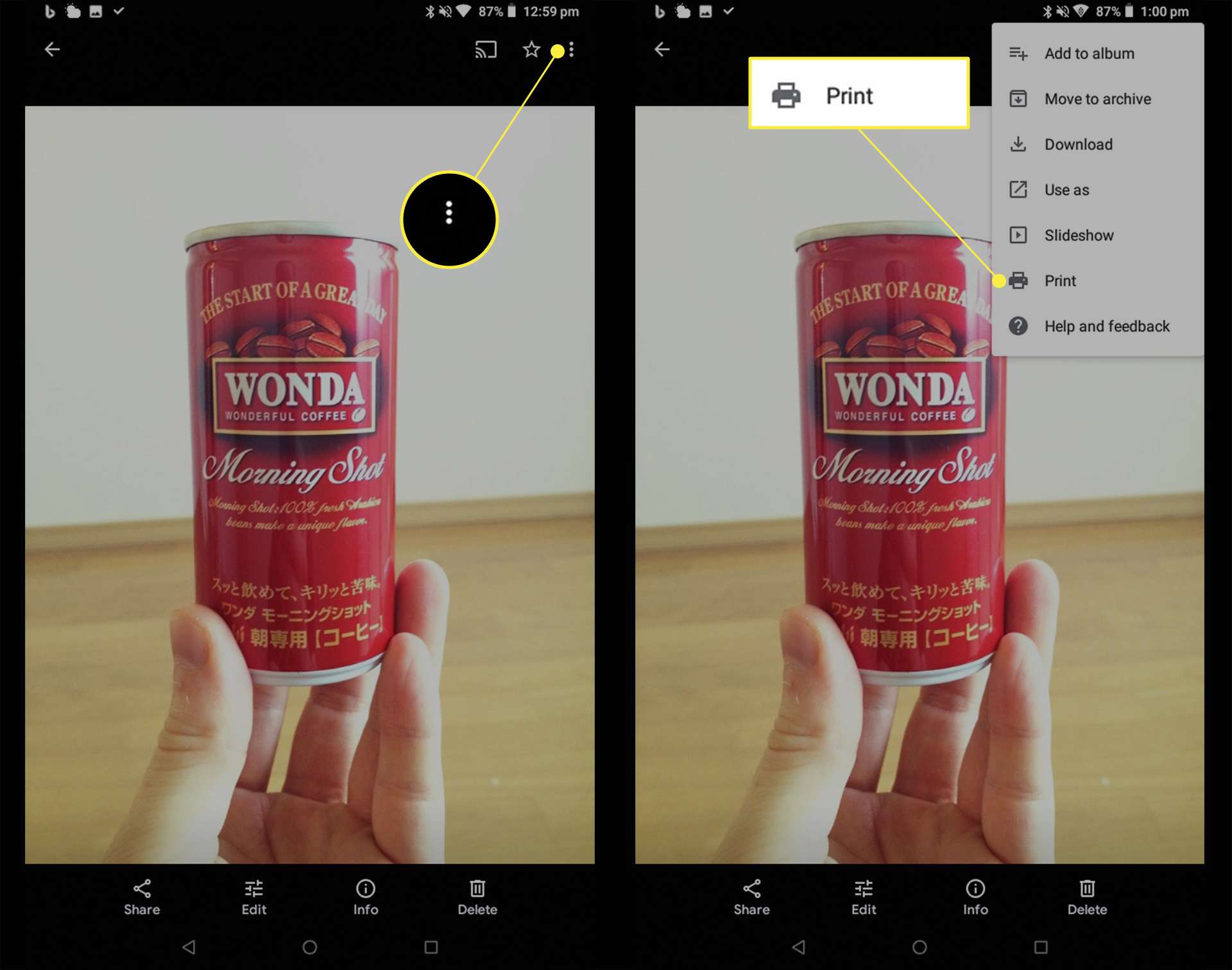 A photo of a can of Wonda Japanese coffee on an Android tablet with three dots and Print highlighted in menu