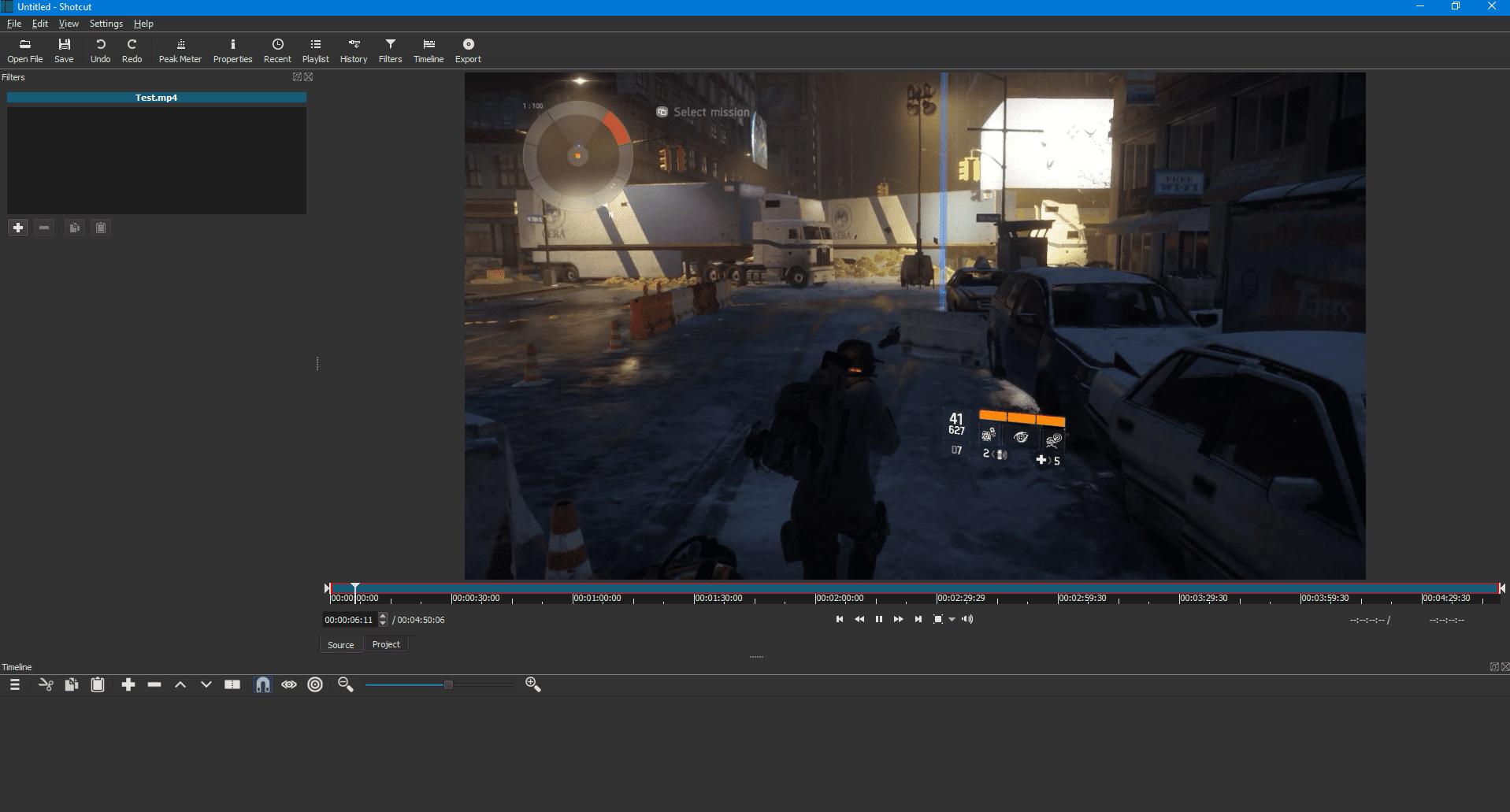 The Shotcut video editor interface.