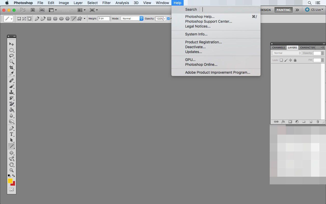 The Help menu in Photoshop
