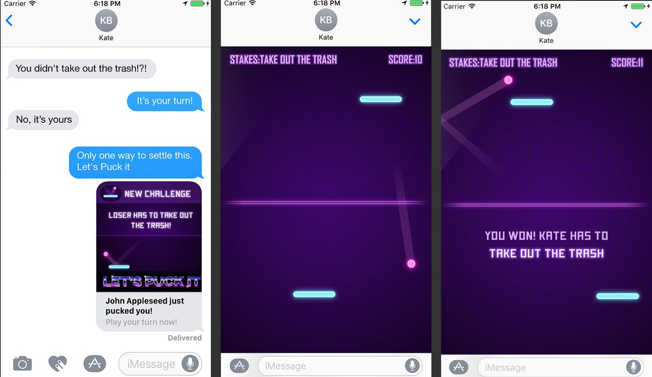 Let's Puck It! app for iMessage