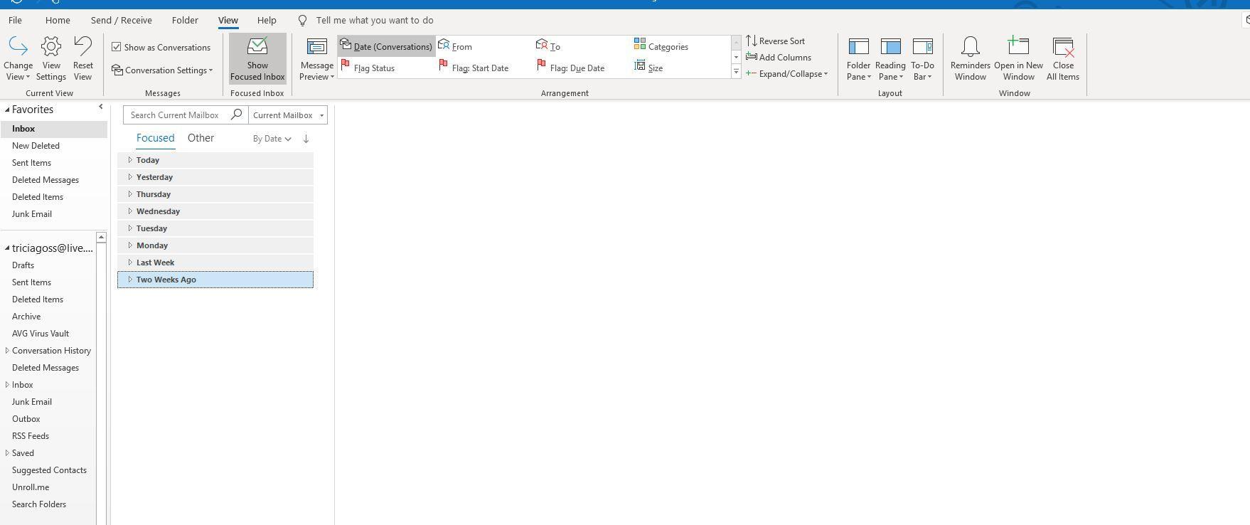 Screenshot of View tab