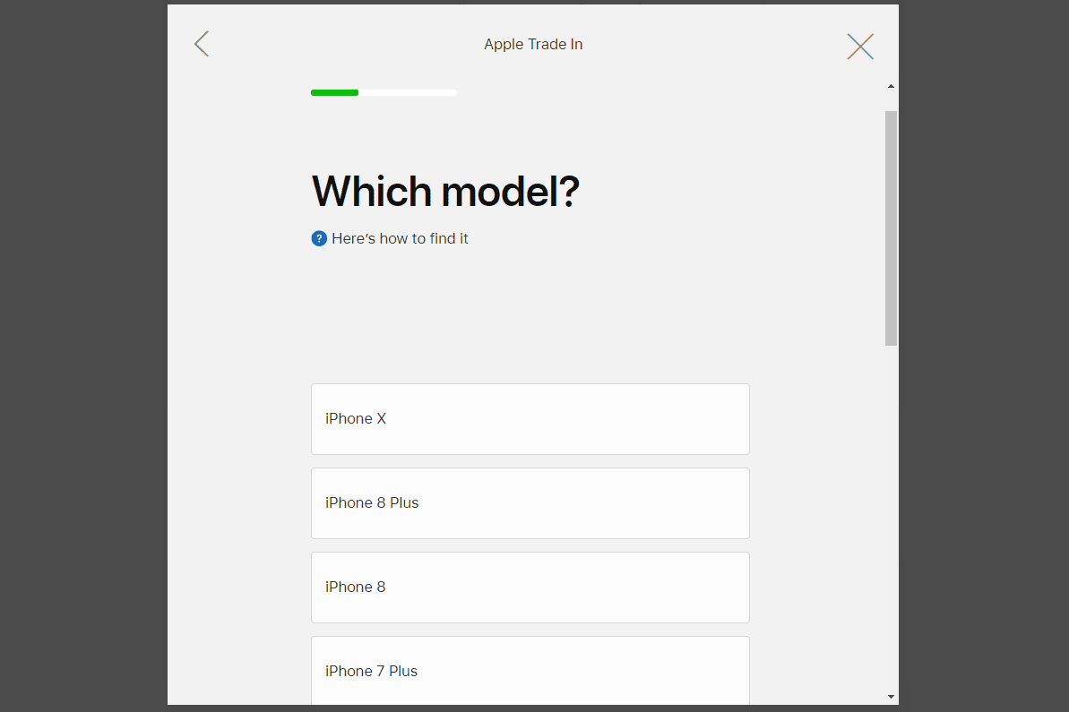 Which model question on the Apple trade-in program for an iPhone