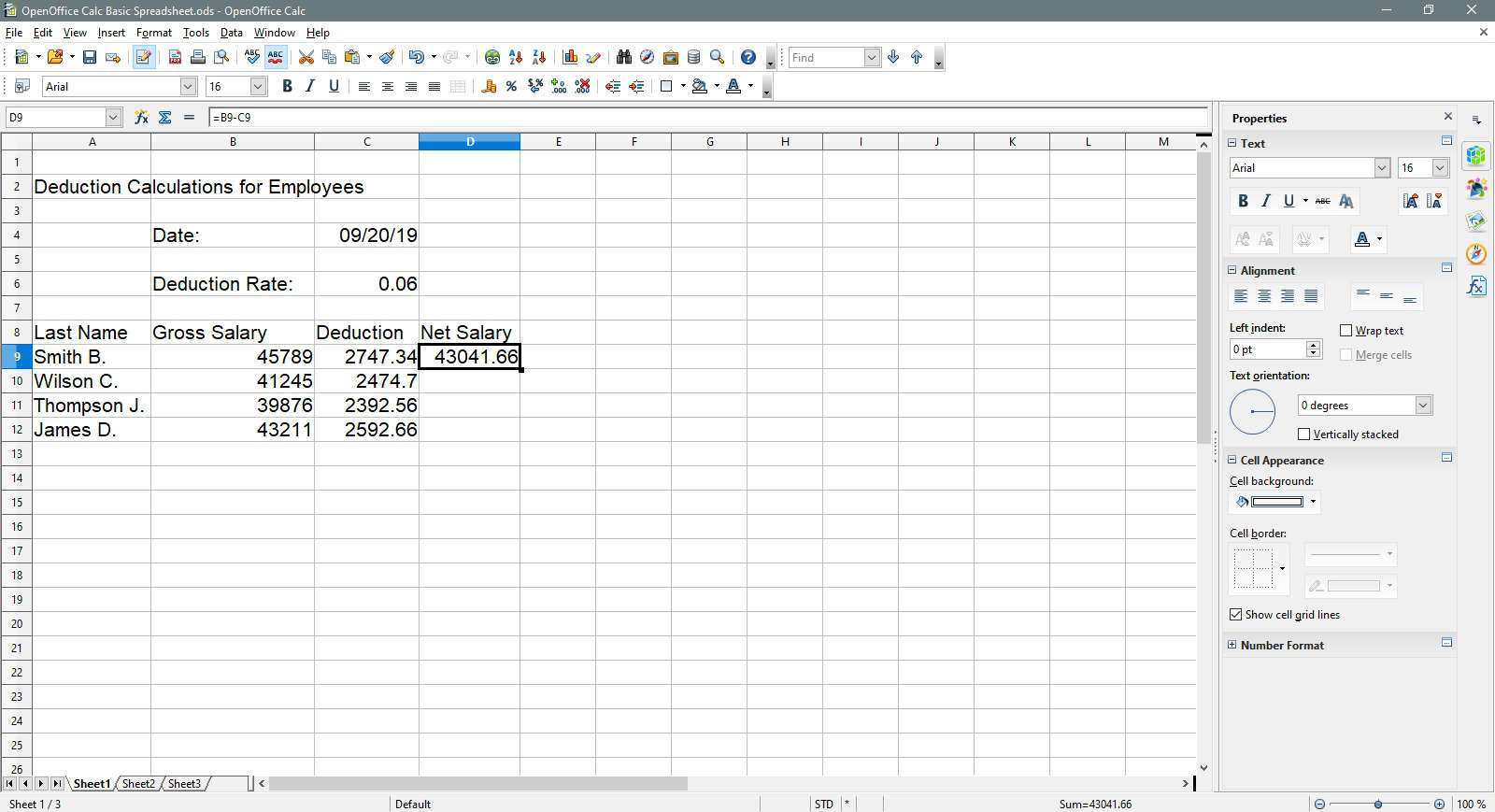 Selecting the net salary cell to copy in OpenOffice Calc.
