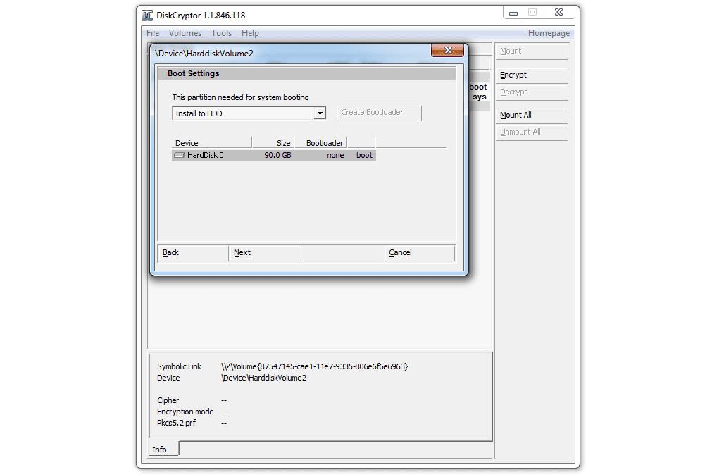Diskcryptor boot settings