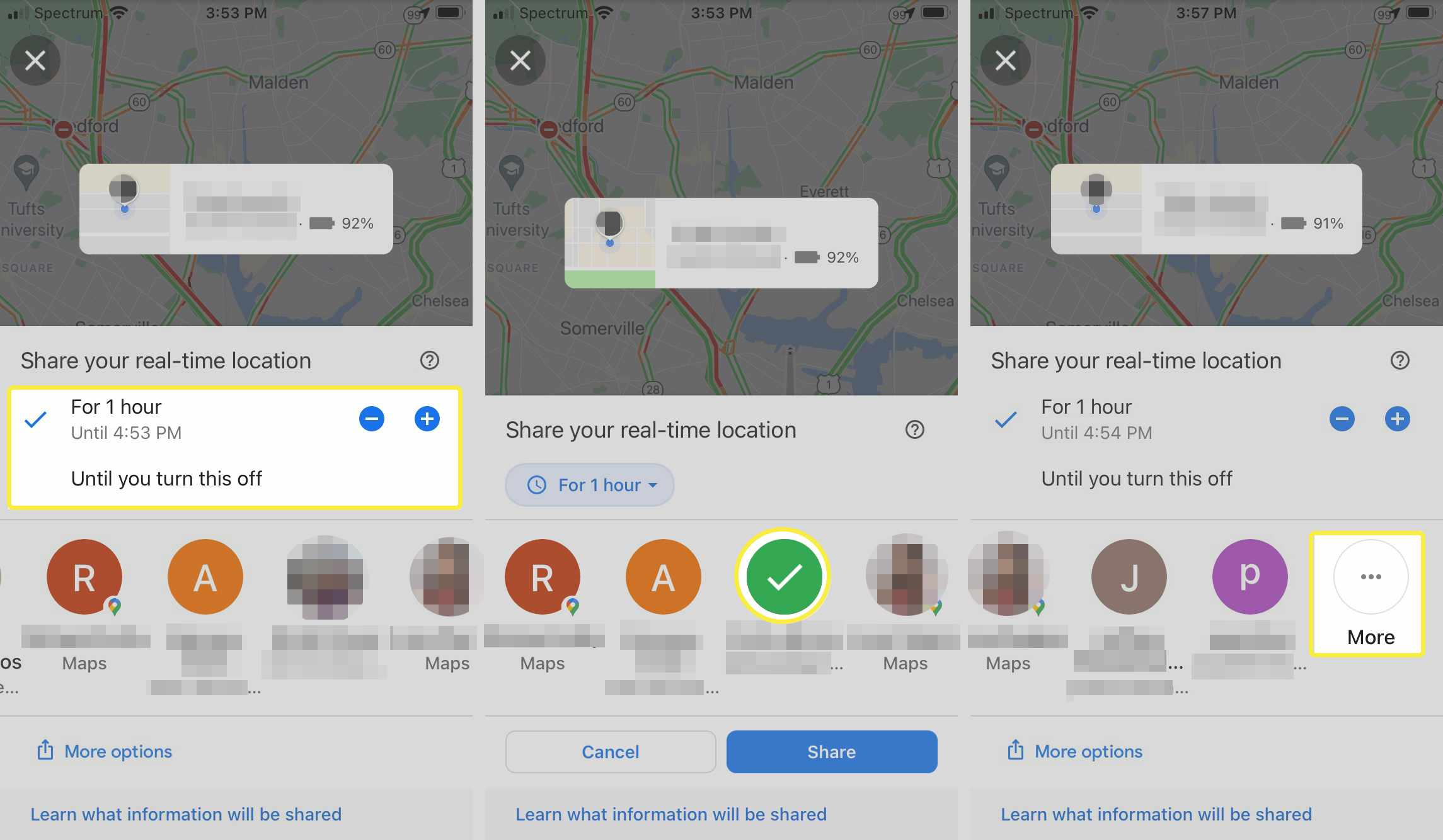 Google Maps share location contacts